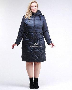 Женская зимняя классика куртка большого размера темно-синего цвета 100-916_123TS