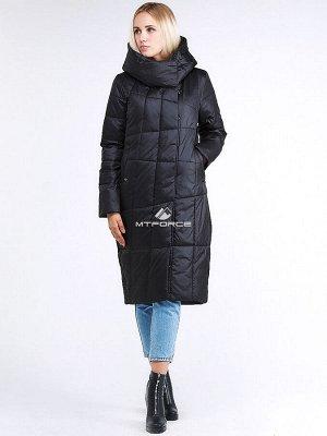 Женская зимняя молодежная куртка стеганная черного цвета 9163_01Ch