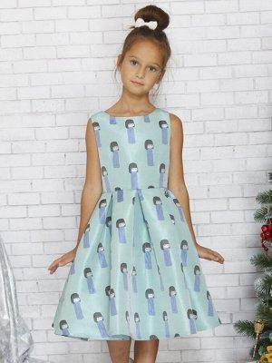 Платье приталенное с юбкой в складку