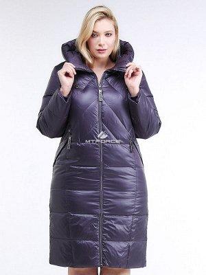Женская зимняя классика куртка большого размера темно-фиолетового цвета