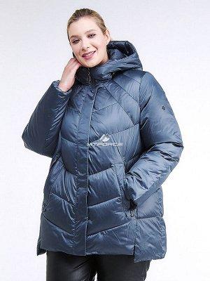Женская зимняя классика куртка большого размера синего цвета