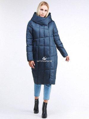 Женская зимняя молодежная куртка стеганная темно-синего цвета 9163_20TS