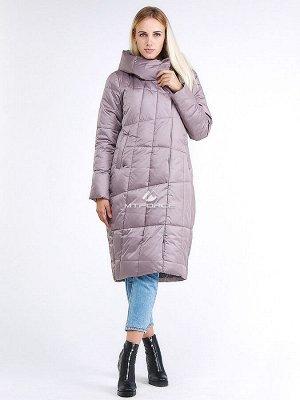Женская зимняя молодежная куртка стеганная бежевого цвета