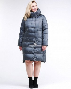Женская зимняя молодежная куртка с капюшоном темно-серого цвета 191923_11TС