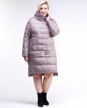 Женская зимняя молодежная куртка с капюшоном бежевого цвета 191923_12B
