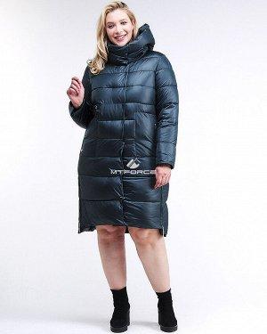 Женская зимняя молодежная куртка с капюшоном темно-зеленного цвета 191923_03TZ