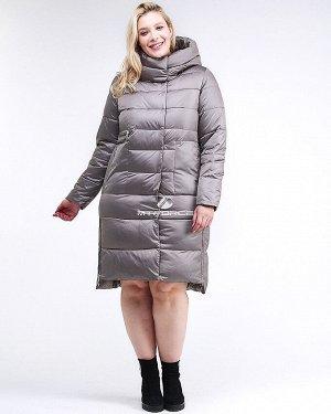 Женская зимняя молодежная куртка с капюшоном серого цвета
