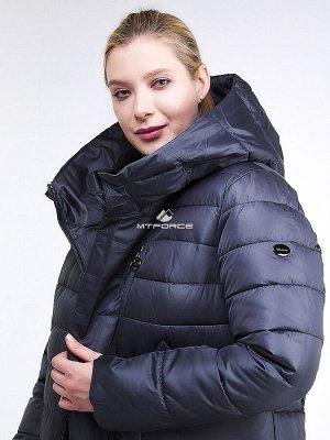 Женская зимняя классика куртка с капюшоном темно-фиолетового цвета