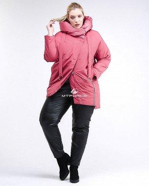 Женская зимняя молодежная куртка большого размера персикового цвета 90-911_75P