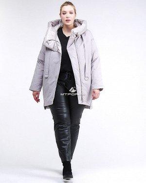 Женская зимняя молодежная куртка большого размера серого цвета