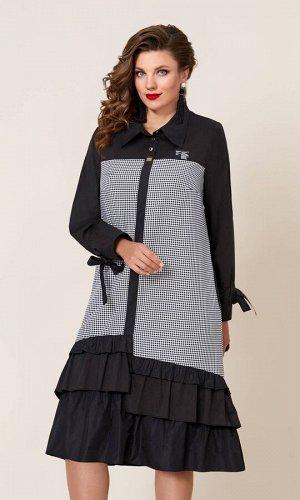 Платье Платье Vittoria Queen 9743-Р гусиная лапка+черный  Состав ткани: ПЭ-95%; Спандекс-5%;  Рост: 164 см.  Эксклюзивное платье из ультрамодной клетки, с ассиметричными воланами станет суперхитом ва