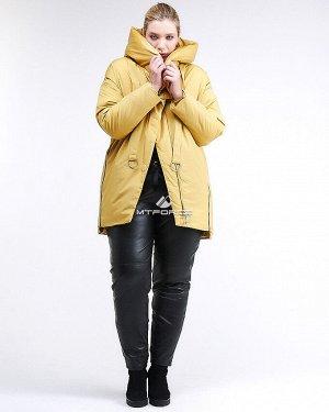 Женская зимняя молодежная куртка большого размера желтого цвета