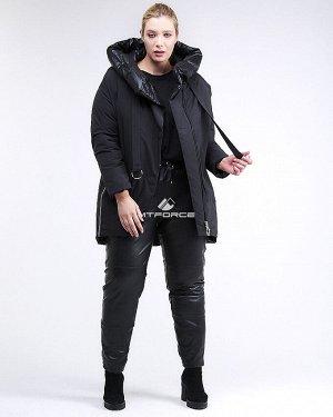 Женская зимняя молодежная куртка большого размера черного цвета 90-911_701Ch