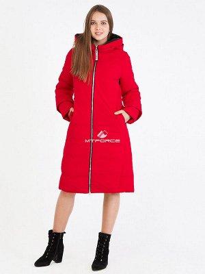 Женская зимняя классика куртка с капюшоном красного цвета 100-927_7Kr
