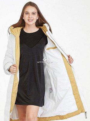 Женская зимняя классика куртка с капюшоном белого цвета