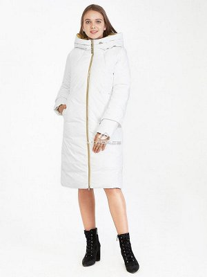 Женская зимняя классика куртка с капюшоном белого цвета 100-927_31Bl