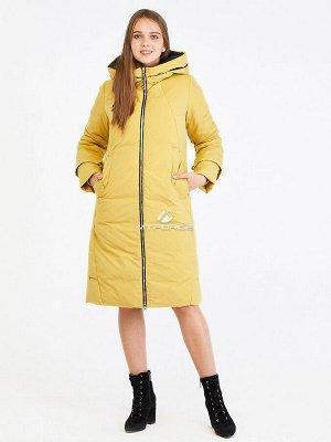 Женская зимняя классика куртка с капюшоном желтого цвета