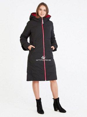 Женская зимняя классика куртка с капюшоном черного цвета 100-927_701Ch