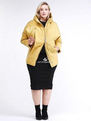 Женская зимняя классика куртка стеганная желтого цвета