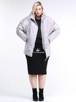Женская зимняя классика куртка стеганная серого цвета