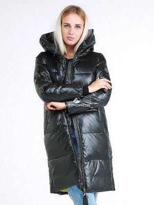 Женская зимняя молодежная куртка с капюшоном темно-зеленного цвета 9179_13TZ