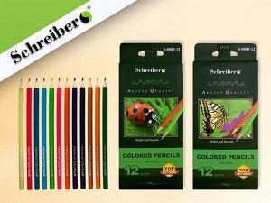 Набор цвет. карандашей, 12 цв., деревянный корпус, к.к., шестигранные