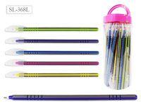 Ручка шариковая В БАНКЕ, цвет чернил - СИНИЙ, удлиненный корпус 19 см, серый корпус с цветными полосками