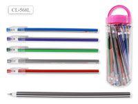 Ручка шариковая В БАНКЕ, цвет чернил - СИНИЙ, удлиненный корпус 19 см, цветной корпус с белыми полосками