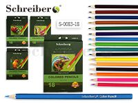Набор цвет. карандашей, 18 цв., деревянный корпус, к.к., шестигранные