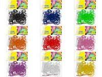 Набор цветных резиночек для плетения браслетов, п/э пакет, 200 резиночек, 1 ЦВЕТ В ПАКЕТИКЕ (включая белые и черные резинки)