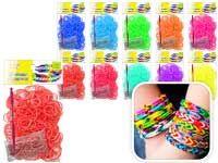 Набор цветных резиночек, 300 шт С БЕЛЫМ ОБОДКОМ