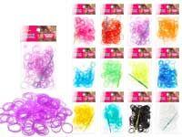 Набор цветных резиночек для плетения браслетов, п/э пакет, 200 резиночек, крючок. 1 цвет в пакете, 12  цветов микс в коробе, ПОЛУПРОЗРАЧНЫЕ