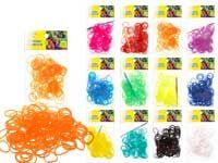 Набор цветных резиночек для плетения браслетов, п/э пакет, 200 резиночек, крючок. 1 цвет в пакете, 12  цветов микс в коробе ЦВЕТНЫЕ