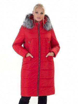 Пуховик женский с мехом на капюшоне Код: 133 красный. мех