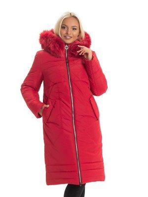 Модный красный пуховик для женщин Код: 130 красный. песец