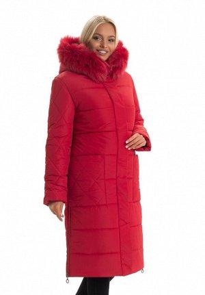 Красный женский пуховик с мехом Код: 137 красный. Песец
