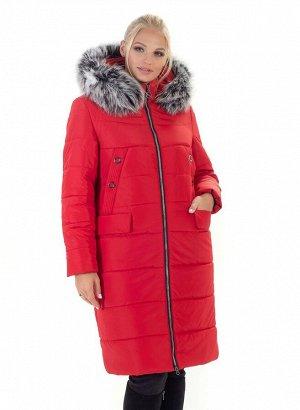 Пальто зимнее женское красного цвета Код: 133 красный. Чбк