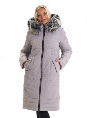 Модный зимний женский пуховик с мехом Код: 130 серый. чбк