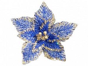 """Пуансеттия """"Паутинка"""" синяя с золотыми пайетками d 30х15 см"""