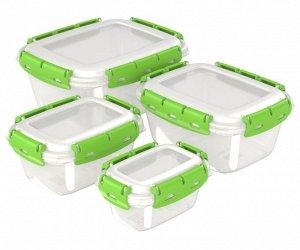 Набор контейнеров герметичных №2 (ланч-боксы, 4шт)  (0,38л; 0,8л; 1,5л; 2,5л)