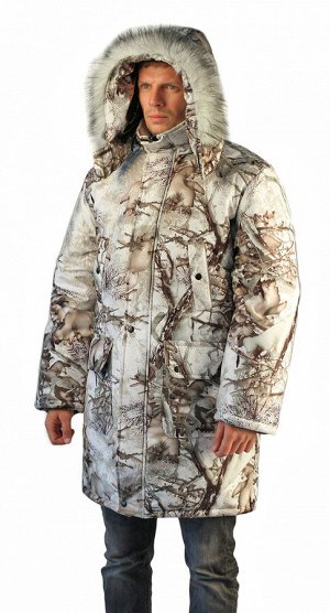 "Куртка-парка мужская ""Тайга"" зимняя, подкл. термофольга, тк.мембрана Алова, цв.кмф Зимний лес"