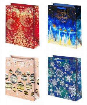 Бумажные новогодние подарочные пакеты
