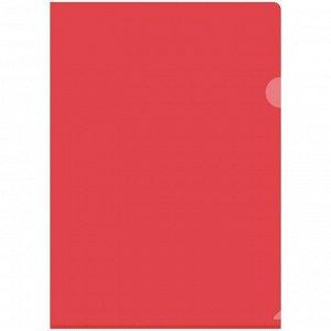 Папка-уголок А4 150мкм, прозрачная красная
