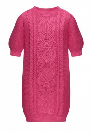 Вязаное платье с сутажной вышивкой для девочки