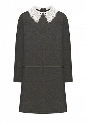 Трикотажное платье  с кружевом для девочки, цвет тёмно-серый меланж
