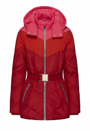 Утеплённая стёганая куртка с капюшоном для девочки, мультицвет