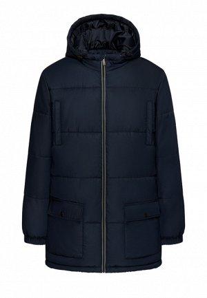 Утеплённая стёганая куртка с капюшоном для мужчины, цвет тёмно-синий
