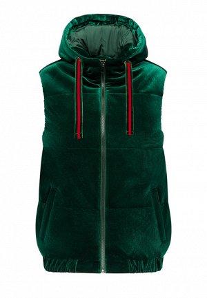Утеплённый стёганый жилет из велюра, цвет тёмно-зеленый