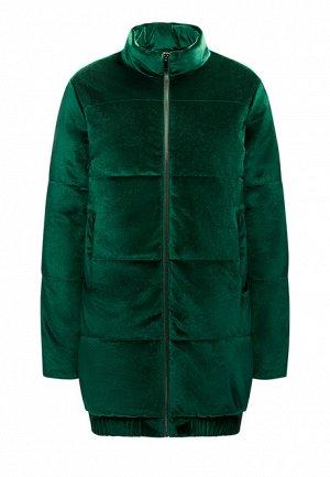 Утеплённая стёганая куртка из велюра, цвет тёмно-зеленый