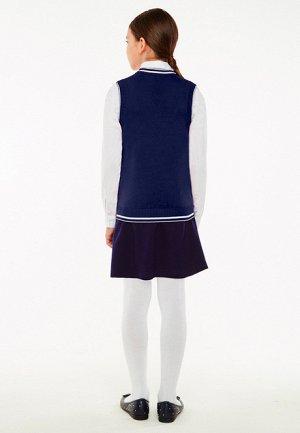 Вязаный жилет для девочки, цвет темно-синий